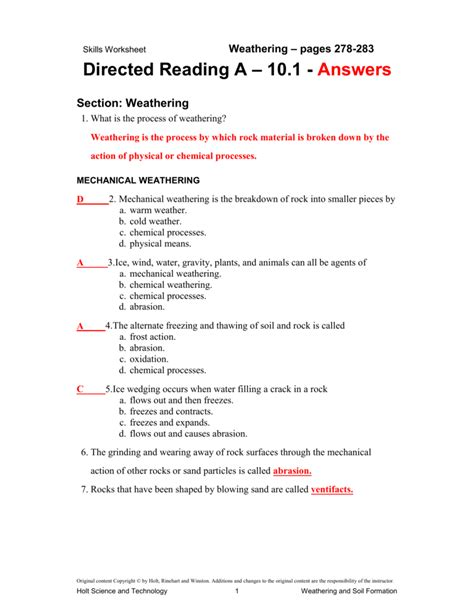 Skills Worksheet Answer Key by Holt Science And Technology Worksheet Answers