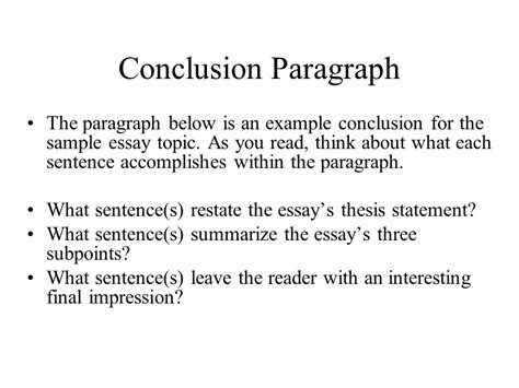 Concluding Paragraph Exles For Essays by Introduction Conclusion Paragraphs Ppt