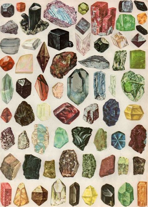 vintage mineral and illustration mineral and