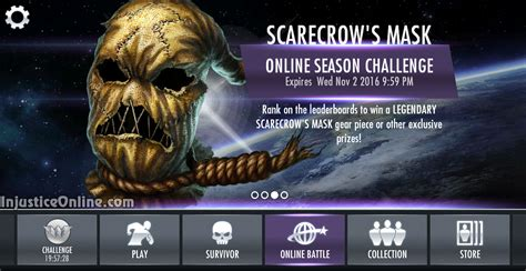 injustice ios new challenge scarecrow s mask gear multiplayer challenge for injustice