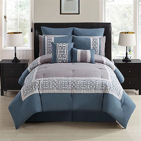 gray and blue bedding dorsey 8 piece comforter set in grey blue bed bath beyond
