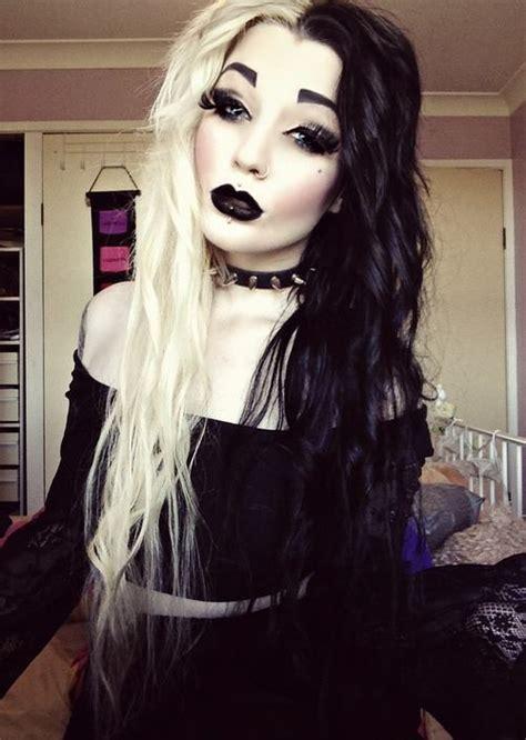 blonde goth hairstyles half blonde half black via facebook image 940731 by
