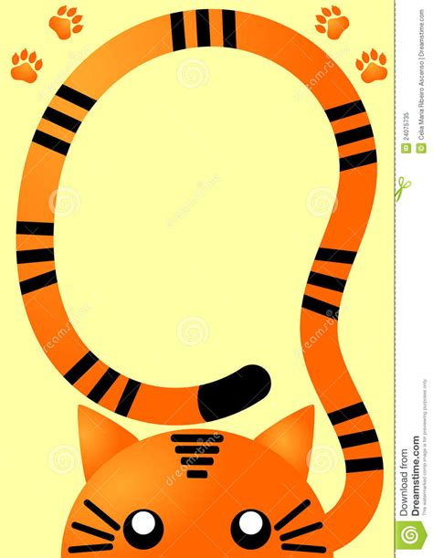 orange tiger invitation card stock illustration image