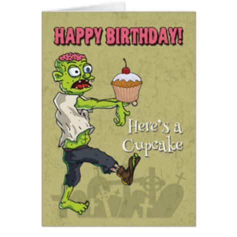 printable zombie birthday cards cupcake gifts t shirts art posters other gift ideas