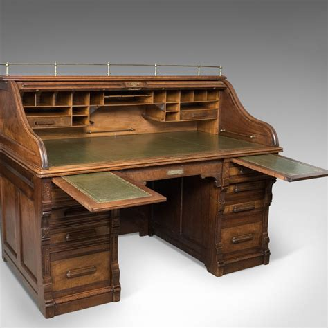 desk with roll out extension antique roll top desk shannon file co english walnut