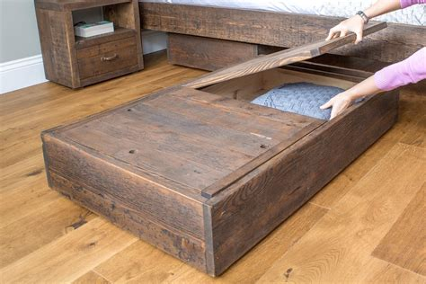 wooden under bed storage drawers with lid reclaimed rustic wood hudson underbed storage eat sleep live
