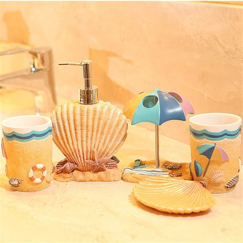 summer bathroom decor five pieces resin bathroom set fashion resin summer beach subject bathroom set