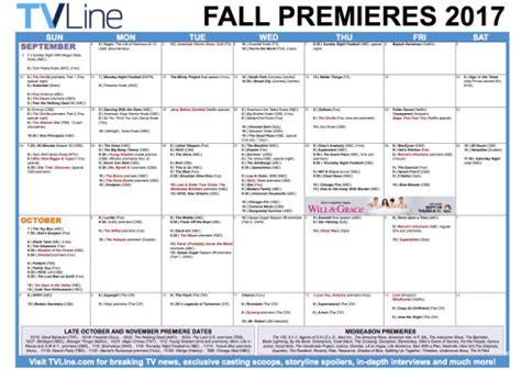 Show Calendar Fall Tv Premiere Dates 2017 Schedule Of Season Series