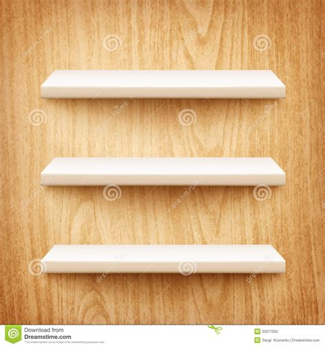 white wooden wall shelves realistic white shelves on wooden wall stock photography