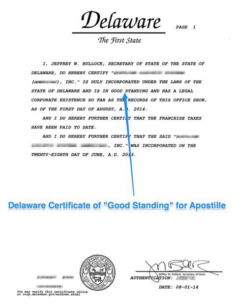 State of Delaware Apostille   Apostille service
