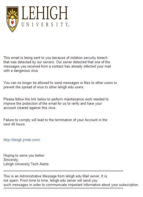 Acceptance Letter From Lehigh quot security breach quot alert library technology services