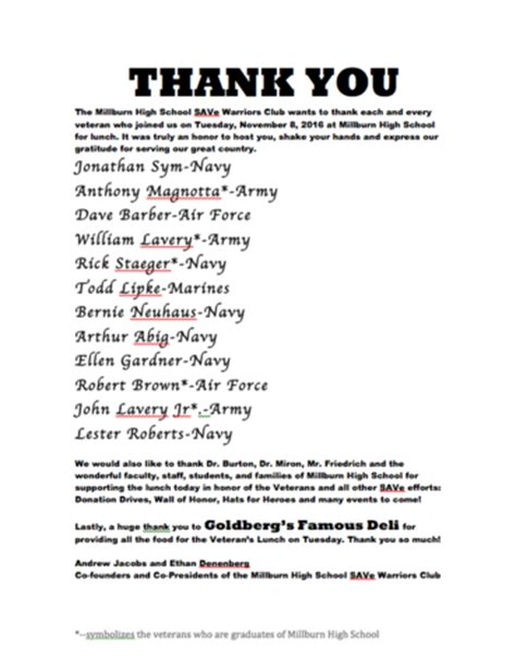 Thank You Note For Donation In Honor Thank You Millburn Veterans News Tapinto