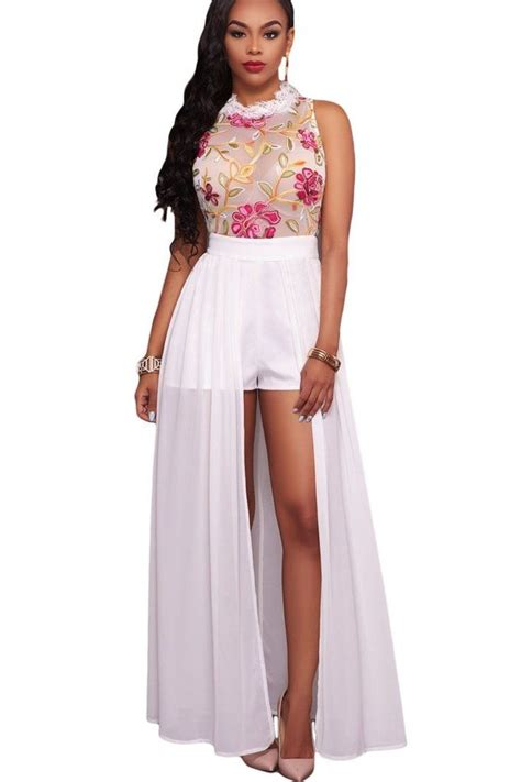 New Dress Flower Maxy 2 By white sheer floral embroidery chiffon overlay maxi romper
