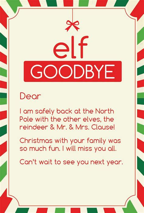 search results for elf on shelf goodbye letter template magic elf goodbye note by cleverprintables on etsy