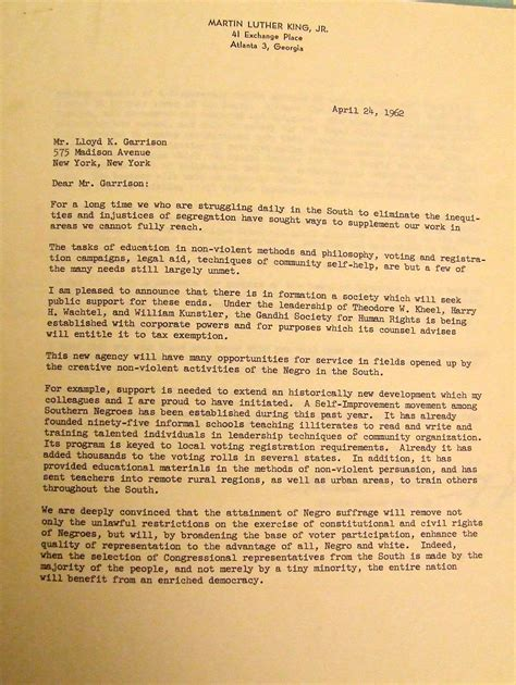 King S College Letter Mlk To Lkg April 24 1962