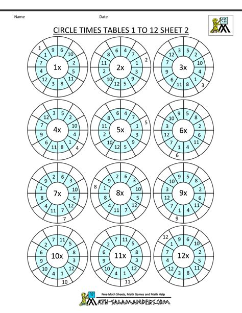 maths times tables worksheets times table worksheet circles 1 to 12 times tables