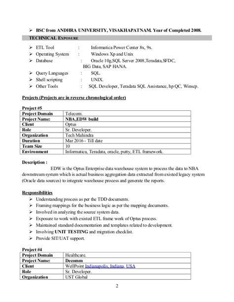 Resume Sle For H1b Application Informatica Resume For 3 Years 28 Images H1b