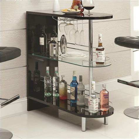 contemporary bar table black home pub glass storage counter furniture shelves ebay