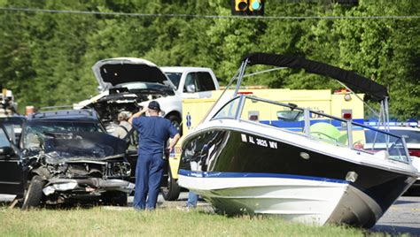 boat crash alabama one injured in two vehicle wreck involving boat shelby