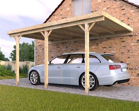 wall mounting solid wood carport flat roof kvh 3000x5000mm
