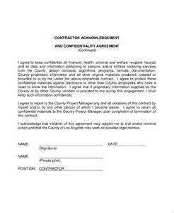 Acknowledgement Agreement Template sample contractor confidentiality agreement 7 documents
