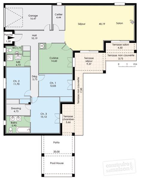 plan maison plain pied 3 chambres en l maison plain pied 3 chambres plan menuiserie