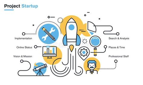 idea design and development flat line design illustration of project startup process