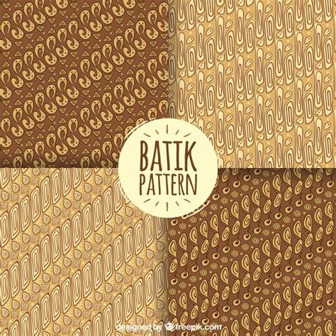 set of batik patterns in brown tones vector free
