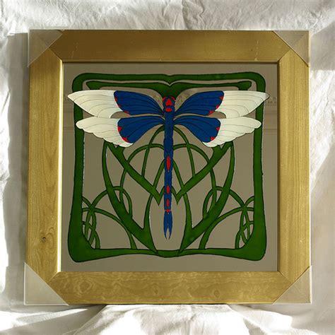 art nouveau dragonfly glass painting brazen j flickr
