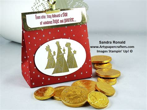 advent gift bag  gold chocolate coins arty paper crafters