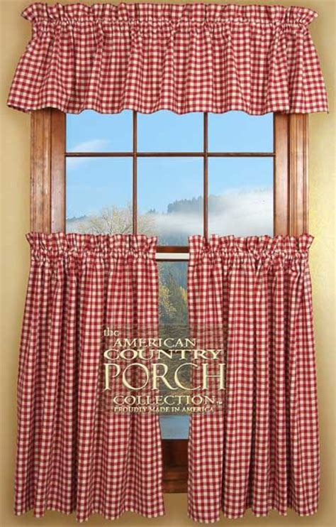 cottage red check curtain valances delightfully red