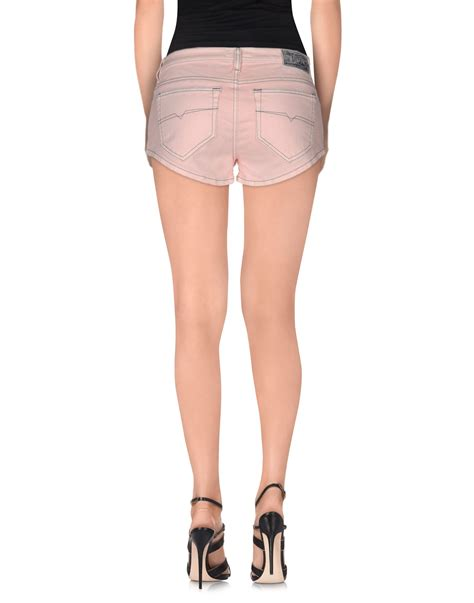 light pink denim shorts diesel denim shorts in pink lyst