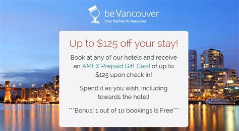 Amex Gift Card Promo - bevancouver 75 to 125 amex gift card per stay promotion for stays until february 28