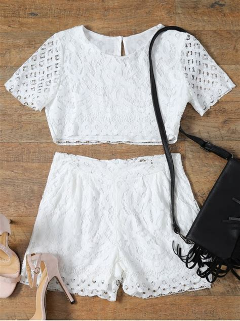 Handmade Top - sleeve guipure lace crop top pocket shortst white