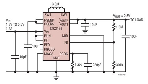 capacitor output current solutions ltc3128 single output capacitor application 1 5a programmed input current