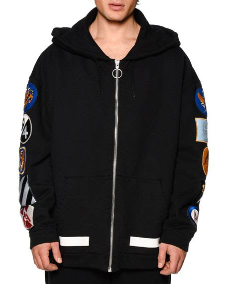 white zip up hoodie w arm patches black white