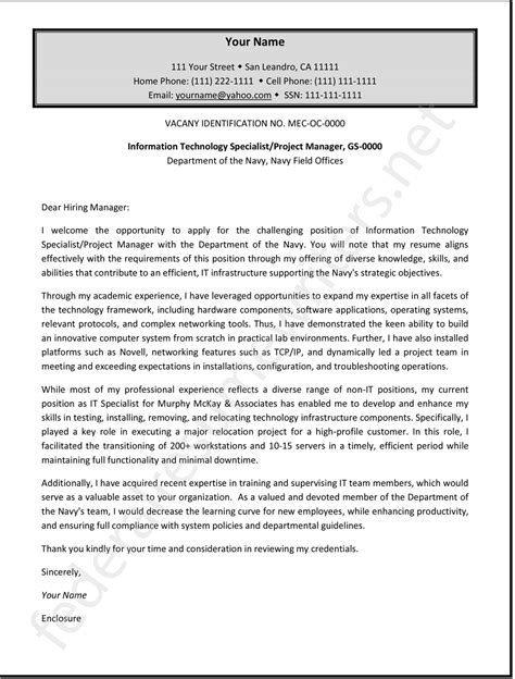 government cover letter federal cover letter sle by federalresumewr on