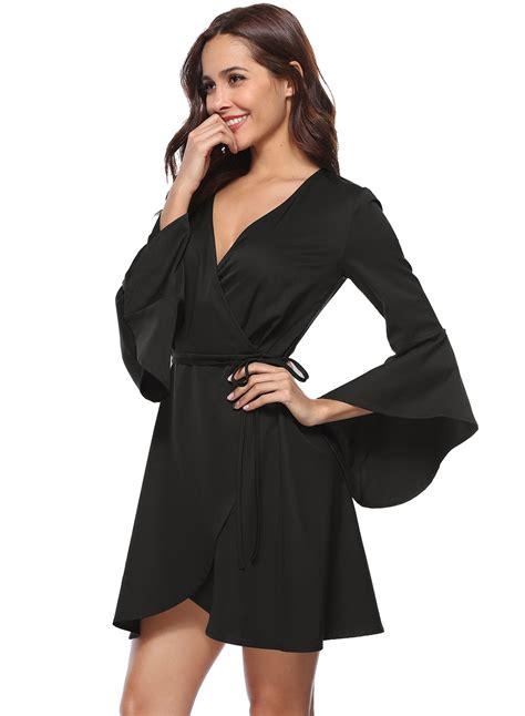 V Neck Solid Color Dress by S V Neck Flare Sleeve Solid Color Dress Achicgirl