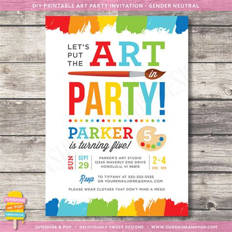 free printable art birthday invitations art party invitations template best template collection
