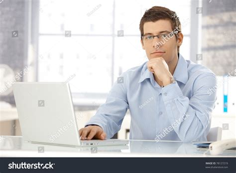 Office Worker At Desk Portrait Office Worker Sitting Office Stock Photo 78127219