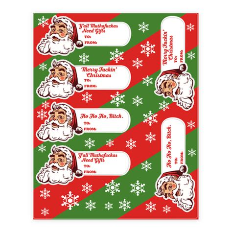rude gifts for christmas rude santa gift tag sticker decal sheets human