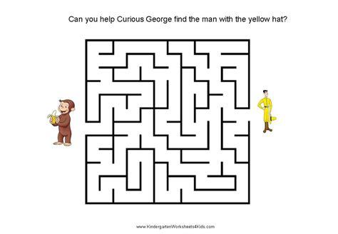 printable maze kindergarten curious george mazes for kids