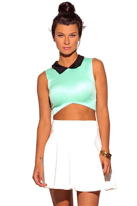 Collar Crop Baju Rajut Blouse green top green tops and tunics inexpensive green tops and blouses cheap green