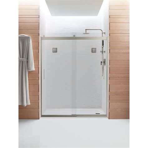 Kohler Shower Door Rollers Kohler Levity 59 5 8 In X 74 In Semi Frameless Sliding Shower Door In Silver With Handle K