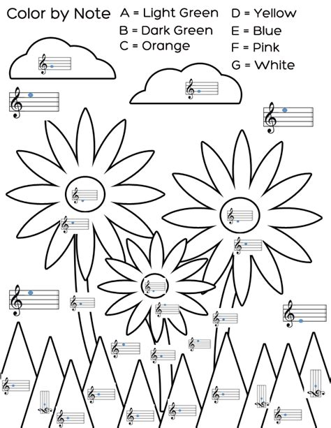 spring music coloring pages welcome spring with this color by note flower worksheet