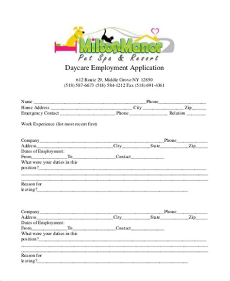 Sle Employment Application Form 9 Free Documents In Word Pdf Daycare Employment Application Template