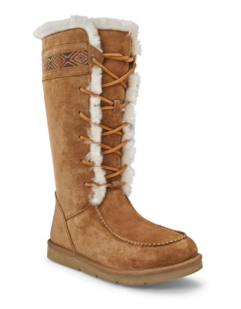 ugg tularosa suede sheepskin boots in brown chestnut