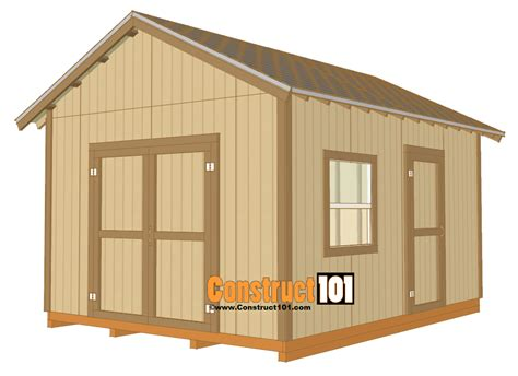 shed design 12x16 shed plans gable design construct101