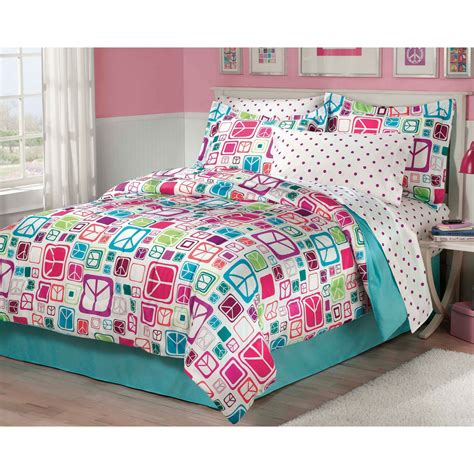 peace signs bedding set 6pc comforter set twin bed