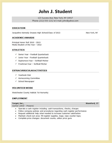 Exle Of A Written Cv Application by Best 25 High School Resume Template Ideas On